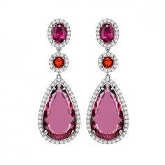 Pink Tourmaline, Fire Opal, Rubellite and Diamond Drop Earrings