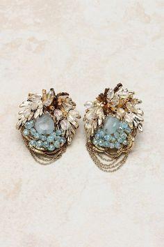 14K Swarovski Crystal Lamire Earrings on Emma Stine Limited