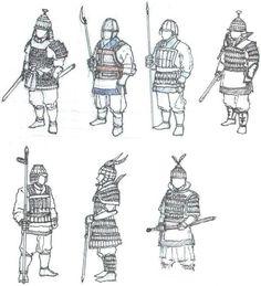 various Baekje soldiers' armor Medieval Armor, Medieval Fantasy, Types Of Armor, Chinese Armor, Samurai, Armadura Medieval, Arm Armor, Fantasy Armor, Historical Art