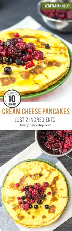 The 2 ingredient Low Carb Cream Cheese Pancakes. Just mix eggs and cream cheese to get delicious low carb, high taste pancakes. Ready in 10 minutes. Low Carb Breakfast, Breakfast Dishes, Breakfast Recipes, Sunday Breakfast, Low Carb Recipes, Vegetarian Recipes, Cooking Recipes, Healthy Recipes, Healthy Food