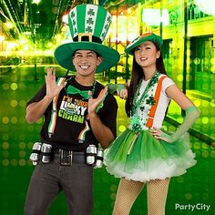 Show up as one lucky couple! We've got suspenders & over sized hats for him. And green tutus, beads and fishnets for her! Don't forget to finish your lots o' green look with shamrock beads!