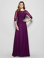 Mother of the Bride Dress Floor-length 3/4 Length Sleeve Chiffon A-l... – USD $ 119.99