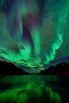 etherealvistas:  Aurora in Ersfjordbotn (Norway) by John A.Hemmingsen