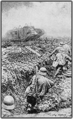 German soldiers avoid an allied tank.