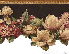 Wallpaper Border Kathy Ireland Floral Dogwood Magnolia Vine on Black Background