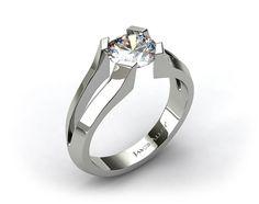 Platinum Split Shank Tab-Prong Tension Set Engagement Ring