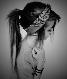 I think this hankerchief-headband thing is always really cute if you can pull it off. <3