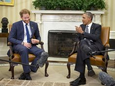 Cordial: A relaxed Prince Harry was all smiles as he met President Obama in the Oval Office today