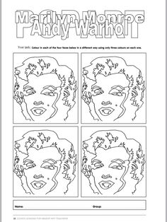 these free andy warhol coloring sheets are great to use with my andy warhol for elementary. Black Bedroom Furniture Sets. Home Design Ideas