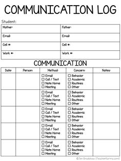 Learn how to use these FREE Parent Communication Logs to document student behavior and academic progress in your classroom. Teacher Organization, Teacher Hacks, Parent Communication Forms, Parent Forms, Classroom Management Plan, Class Management, Center Management, Behavior Management, Teacher Conferences