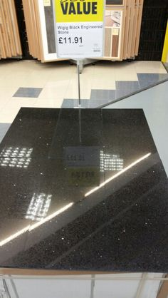 When it's gone it's gone Black Engineered stone. Quartz resin composite with mirror flecks. £66.17 per m2.