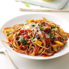 Rustic Summer Vegetable Pasta Recipe -My veggie pasta proves you can't have too much of a good thing. Feel free to change it up with whatever fresh veggies are in the garden or farmers market. —Bryn Namavari, Chicago, Illinois