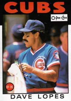 Random Baseball Card Dave Lopes, outfielder/second baseman, Chicago Cubs, OPC. Chicago Baseball, Sports Baseball, Chicago Cubs, Baseball Cards, Cubs Players, Baseball Photography, Go Cubs Go, Wrigley Field, The Outfield