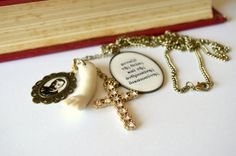 Halloween literary necklace gothic antique doll part by amoronia
