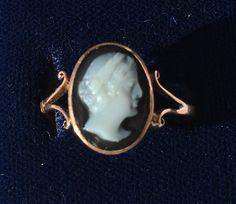 Antique 9ct Gold Edwardian Cameo Ring - Vintage 9k Ring, U.S. Size 6.25, UK size M by LittleVintageCharmCo on Etsy