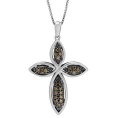 Sterling Silver 1/4ct TDW Brown and Diamond Cross Pendant