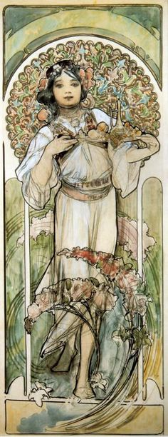 Alfons Maria Mucha - Study for Menu of the Restaurant of Bosnia and Herzegovina / The Exposition of the Century - 14 April - 12 November 1900 - Paris