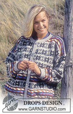 """DROPS 35-16 - Drops Jacket with star repeat in """"Karisma Superwash """" Short or long version. - Free pattern by DROPS Design"""