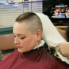 Her long flowing silken locks have just been barbered brutally short. Short Sassy Hair, Short Hair Cuts For Women, Short Hair Styles, High And Tight Haircut, Flat Top Haircut, Shaved Head Women, Shaved Heads, Bald Women Fashion, Buzzed Hair Women