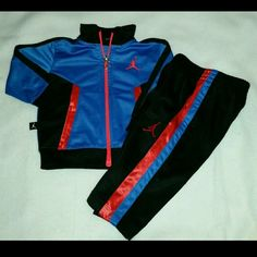 14da58540a1b New Nike Air Jordan Baby Boys 12 Months Outfit Baby boy Jordan Track jacket  pant Suit outfit Size 12 months color black red and blue new without tags  This ...