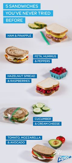 Don't fall into a school lunch rut! Try new sandwich combos like ham and pineapple, chocolate hazelnut spread and raspberries, cucumbers and cream cheese, avocado and mozzarella, or hummus and chopped peppers. Great sandwich inspiration from Ziploc®. And not just for the kids. They make great brown bag lunches for work, too.