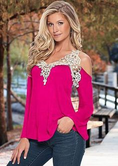 8b22d2a6f2b (FREE SHIPPING) Solid Sexy Floral Lace Off Shoulder Blue Blouse Streetwear  Long Sleeve Loose
