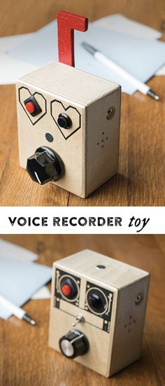These simple wooden toys let you to record a message, play it back, and change the pitch in a non-digital, non-plastic way.
