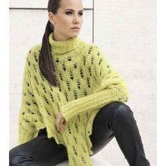 Ponchosweater med ærmer og hulmønster - gratis download