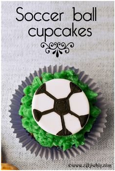 SOCCER BALL CUPCAKES are always a winner with guys! Learn to make these easy soccer ball cupcakes with my video tutorial. From cakewhiz.com