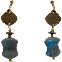 Color Lane Boho Gold Plated Drop Earrings Green Beaded Filigree Pierced Triangular JAE-1852