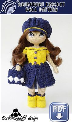 You will get 3 files: crochet doll pattern, crochet eyes pattern and crochet clothes pattern