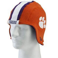 New Era Clemson Tigers Orange Pigskin Flapper Knit Beanie New Era Hats, Book Storage, Clemson Tigers, Knit Beanie, Hats For Men, Football, Orange, Knitting, Kids