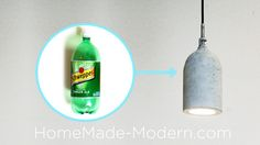 In Episode 11 of HomeMade Modern, Ben shows how to make a concrete pendant lamp out of plastic soda bottles.