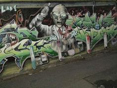 """Mad scientist"" wall art on the corner of Campbell Lane and Cowper Street, Glebe."