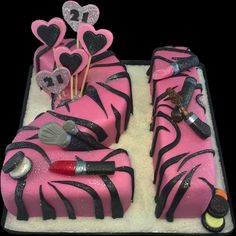 21st Number Cake – Pink with Zebra stripes and edible Makeup on top - Scrummy Chocolate Cake with a Vanilla Buttercream Filling