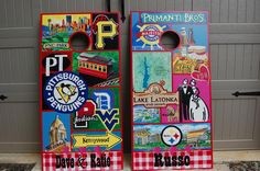 Pittsburg couples cornhole boards