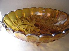 amber Harvest FruitCarnival Glass footed fruit bowl