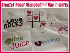 Freezer Paper Stenciled T-Shirts - like DIY screenprinting - great look and you can design your own - by Crafts & Sutch