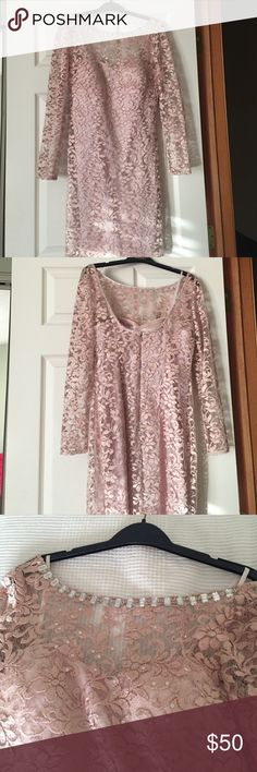 Pink Dress Form fitting but not tight. Worn once as a wedding guest. Rhinestones and sequins highlight bodice and neckline. Beautiful dress. Aidan Mattox Dresses Long Sleeve