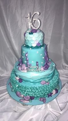 Under the sea Sweet Sixteen cake 16th Birthday Cake For Girls, 16 Birthday Cake, Birthday Crafts, Mermaid Birthday, Sweet Sixteen Cakes, Sweet 16 Cakes, Sweet Sixteen Parties, Mermaid Tail Cake, Mermaid Cakes