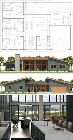 Modern House Plans 97472 House Plans, Floor Plans, Home Plans Sims House Plans, New House Plans, Dream House Plans, Small House Plans, Container House Plans, House Blueprints, Home Design Plans, House Layouts, Modern House Design