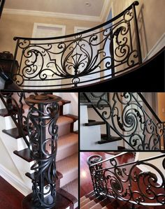 We produce high quality stairways from wrought iron and forged iron in Toronto. Interior railings, fence, staircase and gates are the design products available. Interior Stair Railing, Modern Stair Railing, Wrought Iron Stair Railing, Stair Railing Design, Wrought Iron Decor, Iron Balusters, Steel Railing, Staircase Railings, Modern Stairs