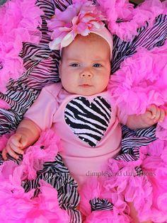 Pink Bodysuit with Zebra Heart