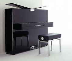 Four years ago, I shared with you a beautifully designed Grand Piano by Audi and bunch of uniquely designed modern concert, grand and upright pianos by well-known German piano makers Bosendorfer an… Piano Bench, Piano Room, Piano Vertical, Upright Piano, Piano Man, Piano Music, Musical Instruments, Architecture, Modern Design