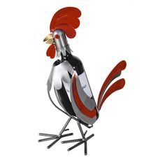 Rooster 1 Bottle Tabletop Wine Rack makes a great gift for anyone. Rooster with red and silver feathers wine caddy