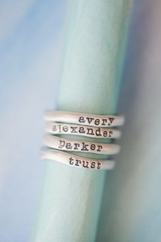 Like the ring idea for kid's names /stacking rings {sterling silver} | Lisa Leonard Designs                                                                                                                                                                                 More