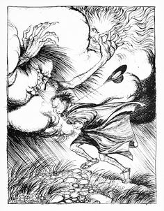 """""""The North Wind and the Sun"""" from """"Aesop's Fables"""" (1912) illustrated by Arthur Rackham"""