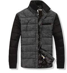 Moncler Men Black And Grey Down Jacket Coat