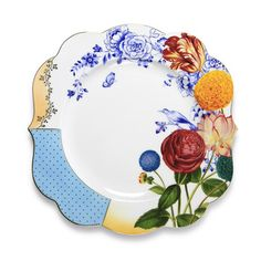 Serve breakfast in style with this stunning Royal Pip breakfast plate from Pip Studio. Uniquely shaped with elegant curved edges, it features a beautifully detailed border in a range of bright colours