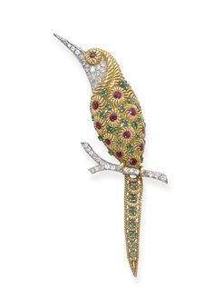 A GEM-SET 'HUMMINGBIRD' BROOCH, BY VAN CLEEF & ARPELS